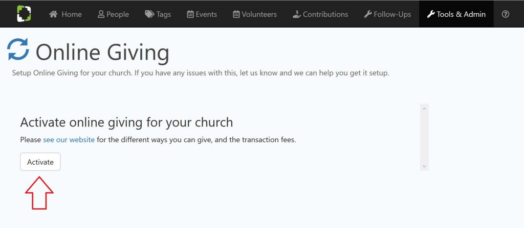 Church Online Giving Setup - Step 2